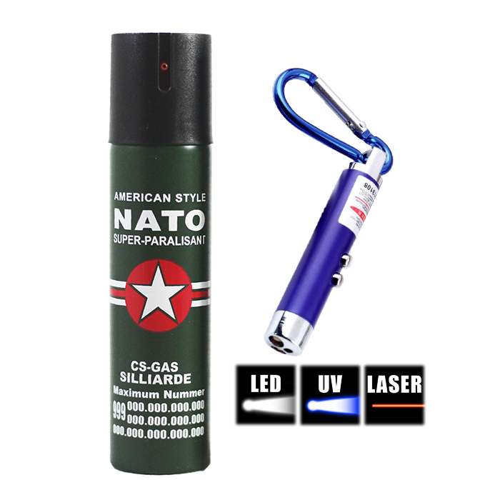 Picture of Pepper Spray + 3-in-1 LED Keychain Flashlight Package 6L